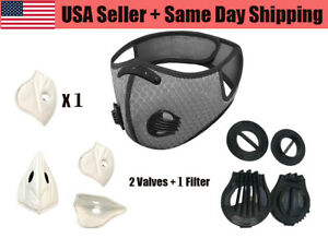 Reusable Cycling Face Mask with 2 Active Carbon Filter and 2 Breathing Valves