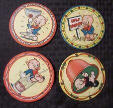 """1940's Vintage PORKY PIG 3.75"""" Coaster Cardboard VG+ LOT4 Glasses, Parking, Bell"""