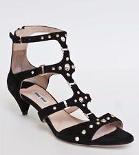 MIU MIU Black Suede Studded Gladiator Low Heel Sandal Shoe 38.5 NIB