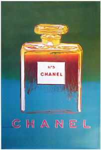 Original Vintage Chanel No5 Perfume Poster Green - by artist Andy Warhol 1995