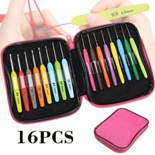 16X Multi Color Crochet Hooks Yarn Knitting Knit Needles Set with Case Tool Home
