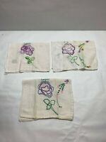 Vintage 3 Piece Dresser Scarf  Doily Set  Hand Embroidered Flowers