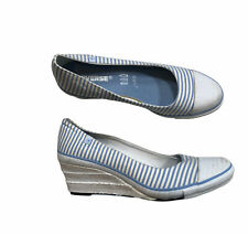 Converse Chuck Taylor All Star Wedge Heel Sandal Shoes Size 8.5 Blue Stripes O3