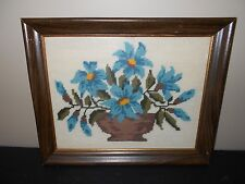 VINTAGE NEEDLEPOINT PICTURE - BLUE FLOWERS IN VASE
