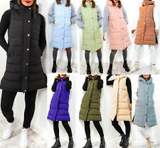 Ladies Women Hooded Long Zip Up Puffer Coat Padded Vest Gilet Jacket Body Warmer