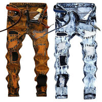 Men's Stretchy Ripped Skinny Biker Jeans Destroyed Zipper Slim Fit Denim Pants