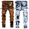 Men's Stretchy Ripped Skinny Biker Jeans Destroyed Zipper Slim Fit Denim Pants