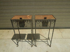2  Antique Wrought Iron Church Votive candle holder Stands / Offering Tables