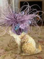 Vintage Miniature Dollhouse Nancy Barnett Resin Pet Dog Purple Silk Feather Hat