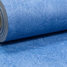 Plain Mid Blue Wallpaper Industrial Concrete Plastered Effect Free Match Smooth