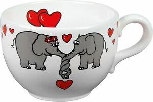 große Jumbo Tasse XXL Becher Elefantenliebe Jumbotasse Suppentasse 600ml