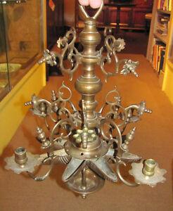Antique Dutch Rose Brass Chandelier 17th Century
