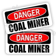 Hard Hat Stickers | Danger COAL MINER | Safety Funny Helmet Decals Labels Mining