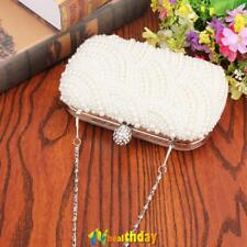 Pearl Clutch Bag Beaded Prom Party Bridal Handbag Box Wedding New Evening Purse
