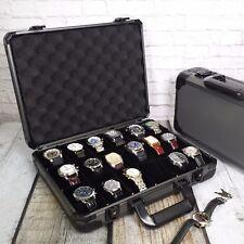 Watch Case Gunmetal Aluminum Briefcase 18 Large Watches