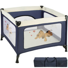 Parc Bébé lit Parapluie lit de Voyage pliant Parc D'éveil avec Matelas & Sac de 105 cm x 105 cm x 78 cm Bleu Tectake