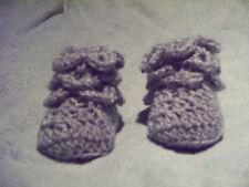 crochet 0-3 months baby  grey booties 0-3 months crocodile stich