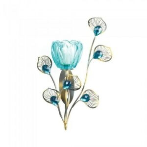 Teal Blue Wall Sconce - Candleholder Peacock Turquoise Decor Home Decorative
