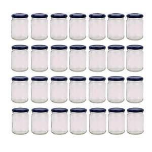 28x 250ml Flint Glass Jars Round Food Storage Small Spices Jar Black Twist Lids