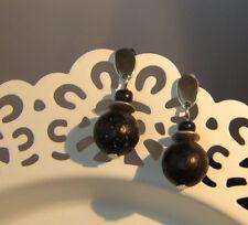 Ohrstecker Ohrringe Edelstahl  Perlen Lava schwarz   ** handmade **