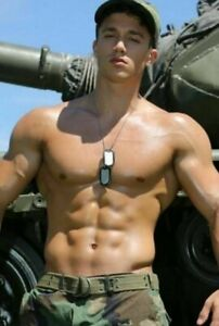 Shirtless Male Muscular Physique Military Hunk Man Dog Tags Guy PHOTO 4X6 B943