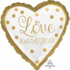 Luftballon Herz Love Always & Forever Gold Wedding Hochzeit Ballons weiß Helium