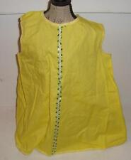 Antique Vintage Yellow Smock Dress Pinafore For Composition Doll Green Trim
