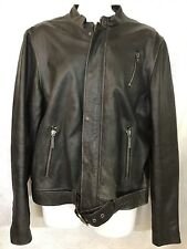 Juicy Couture Leather Jacket Brown Belted Zip Distressed Daytona Demon Size Xl