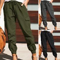 ZANZEA 8-24 Women Elastic High Waist Trousers Drawstring Tapered Cargo Pants HOT