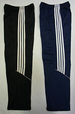 Elasticated Silky Side Striped Jogging Tracksuit Bottoms Trousers Pants Open Hem