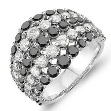 3.25 Ct 10k White Gold White and Black Diamond Ladies Cocktail Right Hand Ring