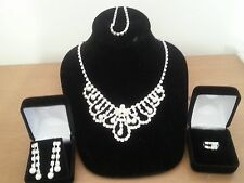 Australian Crystal & Pearl Jewelry Set, Ring, Earrings, Necklace & Bracelet
