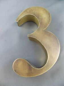 "Salvaged brass finish number ""3"""