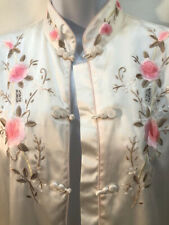 VTG 80s Ivory Chinese embroidered satin PJ floral pajamas pjs lounging set XL