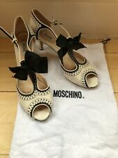 MOSCHINO - Ivory / Black Leather - T Bar - Open Toe Shoes - Size 40