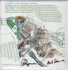 Clive Chapman and Bob Dance Hand Signed Lotus Post Card Very Rare F1 1.