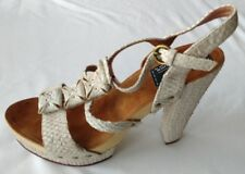 Womens Ladies Beige Crocodile Leather Summer Evening Sandals Size 6/39 New