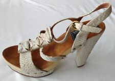Bertie Women's Ladies Shoes Size 6/39 New Beige Crocodile Platform T-Bar Heels