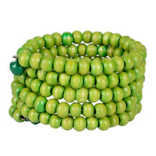 Wooden Beaded Coil Spring Bracelet With 2 Bells Wood Fashion Jewelry Green Seed