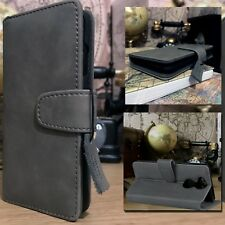 Real Leather Wallet Book Case ION ™ Grey For Sony Xperia XA2