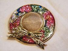 Beautiful Brooch Pin Gold Tone Hat Colorful Brim Bow Cute