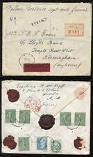 France TAXE 1927 assurés enregistré 7 timbres + sceau... 700F declaree... Antibes