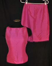 Vtg 90s 2pc Dana Bucman Hot Pink Silk Shimmer Fitted Skirt Tank Top 6P