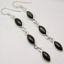 "Earrings 2.6"" ! Indian Jewelry Store 925 Solid Silver Genuine Black Onyx Gem"