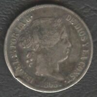 1865 Spanish Philippine ISABEL II 20 Centimos KM #146 Silver Coin, Stock- A8