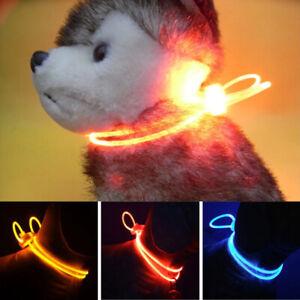 Light Up Pet Dog Collar LED Adjustable Night Safety Luminous Flashing Collar UK