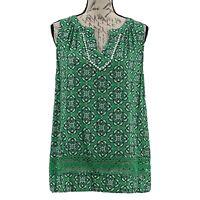 Crown & Ivy Blouse NWOT Green Paisley V-Neck Sleeveless Part Crochet Top Size L
