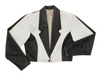 Vintage Leather Jacket M Medium Womens Black & White Cropped Motorcycle Jacket