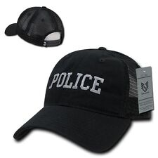 Black Police Officer Law Enforcement Cop Low Crown Baseball Polo Trucker Cap Hat