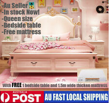 Rome Style Queen Size Bed with one Bedside Table Bedroom and a mattress for free